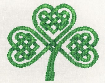 Celtic Knot Shamrock Cross Stitch Kit