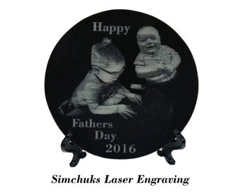 Family & Pet Portraits - Laser Engraved Black Granite Tile by Simchuks Laser Engraving