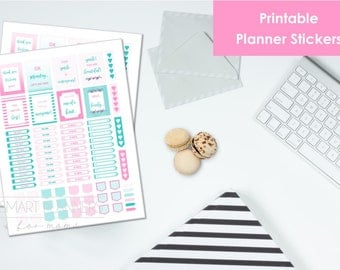 "Printable planner Stickers, pink and mint color. US Letter Size (8.5""x11""), Portrait. To do digital stickers. Instant download."