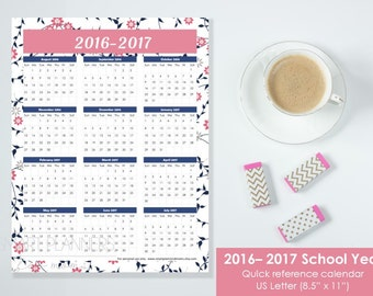 "Academic Year Printable Calendar 2016-2017 at a glance. US Letter Size 8.5""x11"". Quick reference calendar, planner insert. Instant download."