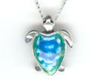 High fire enamel sea turtle pendant