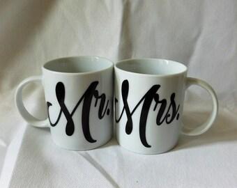 Mr Mrs Mug Set, Mr Mrs Tea Cup, Marital Mug, Married Mugs, Ceramic Mug, 11 oz Mug, Newlyweds Mug