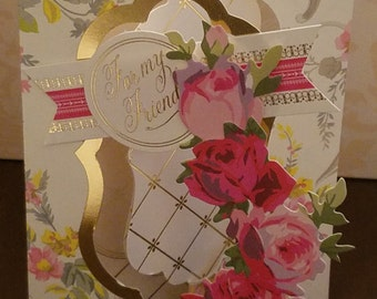 3D Pink Floral For My Friend Greeting Card