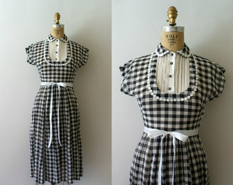 Vintage 1940s Dress - 40s Black and White Checked Day Dress