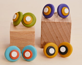 Studs colored small rounds in handmade polymer clay