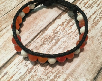TN VOLS orange and white beaded black cord bohemian handmade single wrap bracelet with metal button