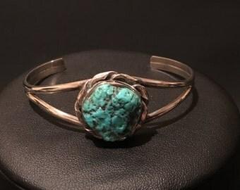 Turquoise on Metal Cuff Bracelet Vintage