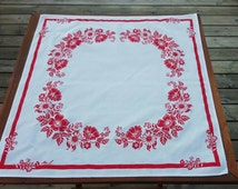 Swedish vintage white tablecloth, doily with printed red flowers midcentury modern scandinavian design