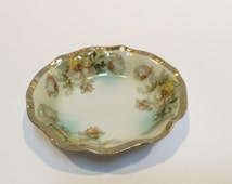 Beyer and Bock  Prussia Royal Rudolstadt Hand Painted Gilt Porcelain Berry Bowl