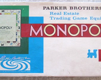 Monopoly 1961 Parker Brothers Original Vintage Retro Board Game in box, complete, with Instructions and all parts