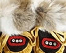 Handmade baby moccasins, traditional Alaska Native Tlingit pattern, fur and beading, heirloom baby or shower gifts.