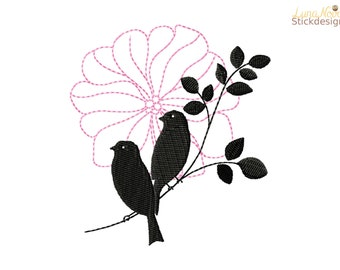 Embroidery bird pair
