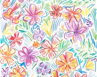 Floral Wall Art, Interior Styling ideas, Poster Wall Art, Colorful Wall Art, Happy art, Happy Gift, Girls room idea, Kids decor idea