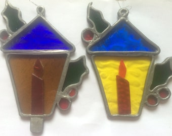 Pair of Vintage Stained Glass Christmas Candle Suncatchers
