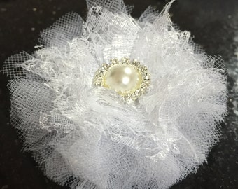 "6 Pcs White Tulle Lace Pearl and Rhinestone Flower Tulle Flower 3"" Shabby Chic Fabric Flower Headband Flower Wholesale"