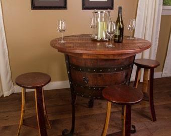 1078 Old World Wine Barrel Table Set With 4 Wine Barrel Stools Part 21