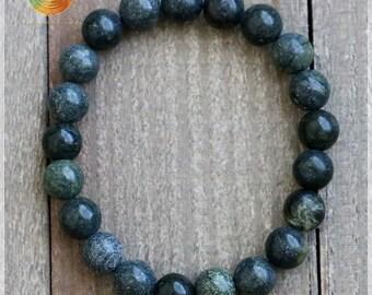 Russian Serpentine Bracelet, 8mm Genuine Russian Serpentine, Healing Bracelet, Serpentine Jewelry, Elastic bracelet, Chakra Stone, Mala Bead