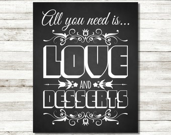 All You Need Is Love And Desserts Wedding Sign Chalkboard Sign Dessert Table Sign Wedding Decorations Wedding Printable Dessert Table Decor