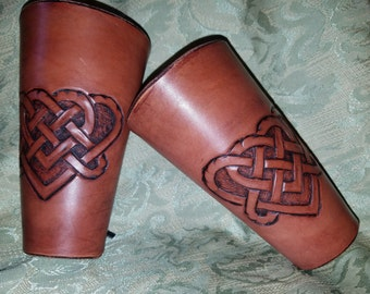 Handcrafted leather bracers with Celtic heart design-Celtic knot-Leather armor
