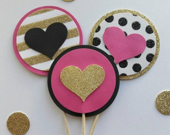 Kate Spade Inspired Cupcake Topper, Kate Spade Bridal Shower Decor, Pink Black Gold Party, Heart Cupcake Pick, Bachelorette,Kate Spade Party