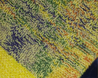 Hand Knitted Blanket Multi Colored and Yellow