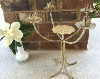 Distressed Iron cream-colored candelabra / candle holder / table centerpiece