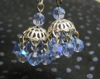 Antique Blue Crystal Chandelier Earrings