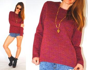 Vintage Missoni 80s knit wool top long sleeve shirt chevron pattern large 1980s vintage clothing