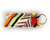 Multi-Colored Pattern Chapstick/Lip Balm Holder Keychain