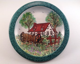 Hand Painted Farm House Plate made in Quebec