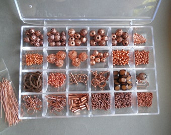 Copper Beading Kit - Mix of Metal Beads - Copper Toggles, Copper Chain, Copper Ear Wires
