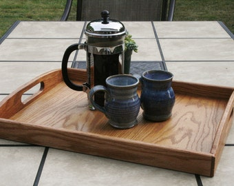 Wooden Serving Tray--Natural Red Oak