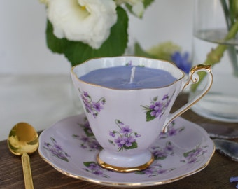 Tea Cup Candle Vintage  // Antique Bone China // Soy Wax // Gift for Mom // Bridesmaid Gift // Gift under 30 // Purple Flower Teacup