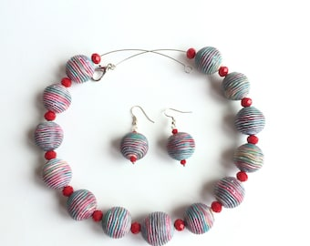 Wavy lines polymer jewellery clay set - necklace and earrings