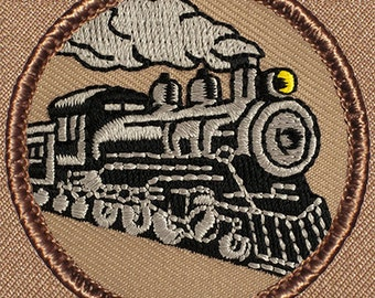 Train Locomotive Patch (763) 2 Inch Diameter Embroidered Patch