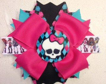 Hair bows,Monster High Hair Bows,Skull Hair bows, Boutique Hair bows, Layered Hair bows, Stacked Hair bows