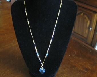 Vintage Paradise Gold Tone Blue Crystal Heart Pendant Necklace