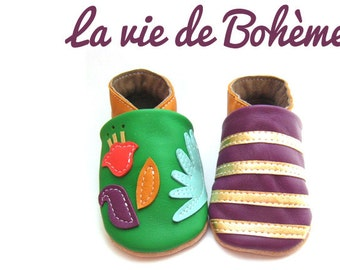 Slipper soft leather adult Bohemian of 41 to 44