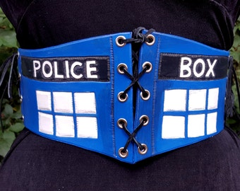 Police Box Waist Cincher - Blue Leather Underbust Corset Belt - Cosplay Costume Renaissance Medieval Costume