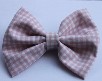 Pink Gingham Checked Hair Bow