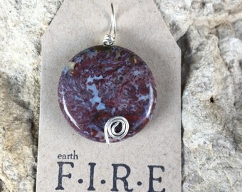 Red Lightning Agate Wrapped Pendant