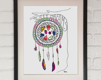 Sweet Dreams, 8x10, wall decor, dream catcher, feathers, dessert, fruit, strawberries, blueberries, branch, tree, arrows, wild and free