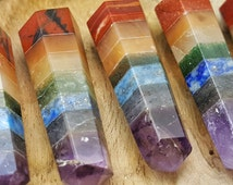 7 Chakra Double Terminated Point  - Hand Cut Natural Stone Point for Crystal Healing Grids - 257