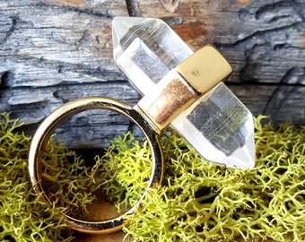 Double Terminated Crystal Quartz Ring   - 357