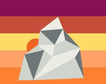 Geometric Mountain Sunset Poster