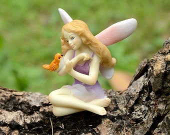 Miniature Dollhouse FAIRY GARDEN ~ Fairy with Little  Bird  ~ NEW