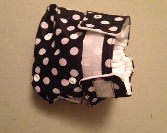 AIO Cloth Pocket Diaper- Velcro - black & white