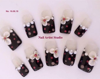 3D sculpture flower / Handmade artificial nail tips