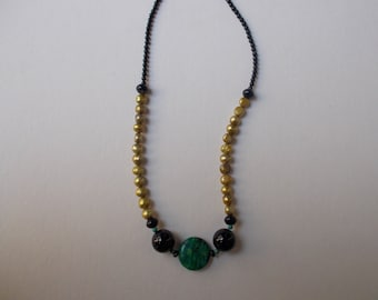 Magnesite Turquoise Freshwater Pearl and Onyx Necklace