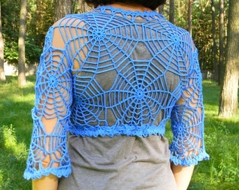 Spider web clothes Gossamer blue gothic net exclusive work Crochet bolero web spider summer Halloween